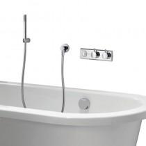 HiQu Digital Bath Control with Bath Filler Overflow with Slim Metal Shower Handset
