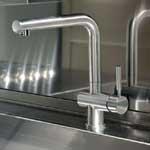 Brushed steel sink mixers